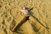 The boy on sand — Stock Photo