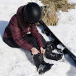Woman with a snowboard — Stock Photo