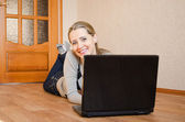 Woman with the laptop — Stock Photo