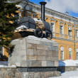 Monument to the first Russian steam locomotive — Stock Photo