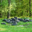 Dump of old automobile tyre — Stock Photo