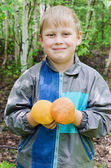 The joyful child who has found two aspen mushrooms — Stock fotografie