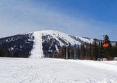 A alpine skiing resort  Sheregesh. — Stock Photo