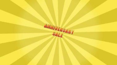 Anniversary Sale Retro Yellow Starburst — Stock Video