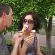 Stock Video: Playful Couple Eating Ice Cream