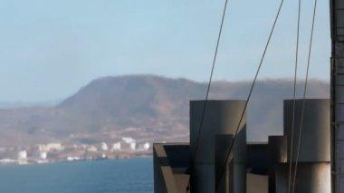 Boat Exhaust Smoke Stack Mirage — Stock Video