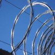 Stock Video: Razor Wire Close Up PAgainst Blue Sky