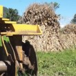 Stock Video: Disc Harrow Corn Piles Dolly