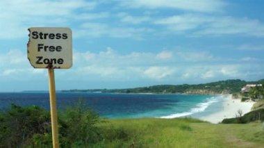 Beach Sign Stress Free Zone — Stock Video
