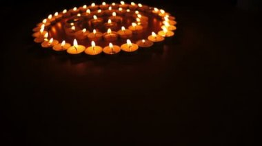 Candles in Concentric Circles Dolly — Stock Video