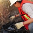 Environmental Woman Cleaning Garbage — Stock Video