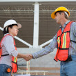 Male and Female Workers Shake Hands — Stock Photo #45785039