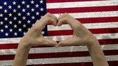 Hands Heart Symbol USA Flag — ストック写真
