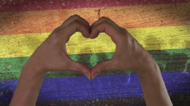 Hands Heart Symbol LGBT Pride — Vídeo Stock
