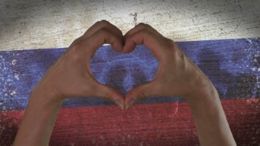 Hands Heart Symbol Russian Flag — Stock Video