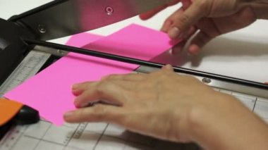 Craft Paper Cutting on Guillotine — Stock Video