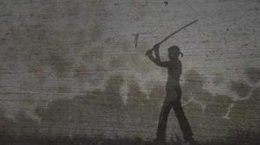 Grunge Silhouette of Girl Practicing With Sword — Stock Video