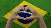 Hands Heart Symbol Brazilian Flag — Stock Photo
