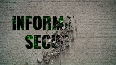 Information Security Binary Code Crumbling Wall — Stock Video