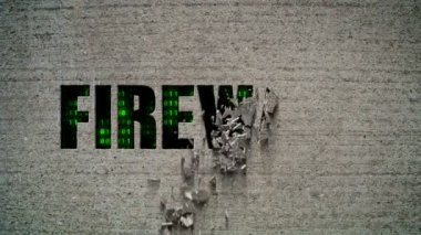 Firewall Crumbling Wall — Stock Video