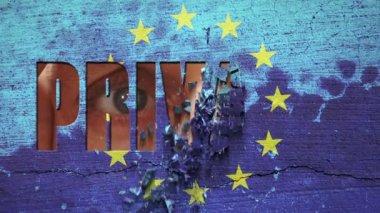 Spying Eyes Crumbling Wall Europe — Stock Video