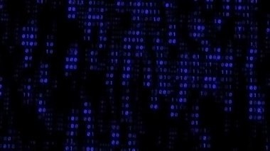 Binary Matrix Wall Blue Background — Stock Video