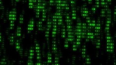 Fondo de pared verde matriz binaria — Vídeo de Stock