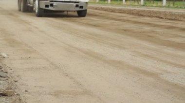 Dump Truck Dirt Road Fast Pan — Stock Video