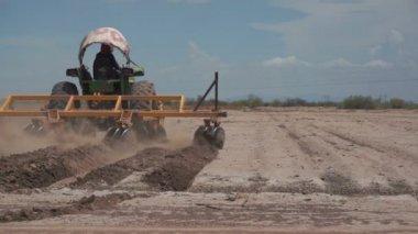 Industrial Farming Disc Harrow on Dry Land — Stock Video