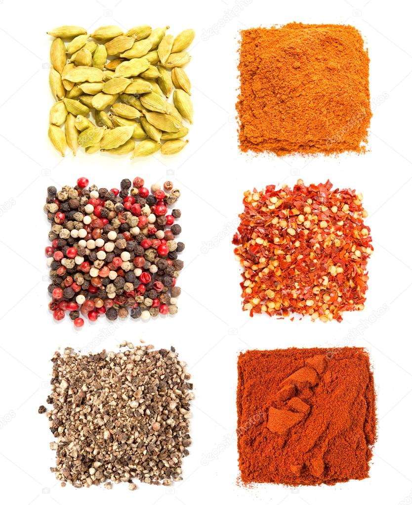 Set of spices heaps isolated on white background — Stock Photo #12203593