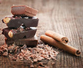 Chocolate pieces — Stock Photo