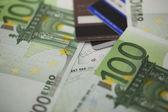 Pile of one hundred euro bills — Stock Photo