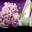 Peony flower with shoes — Stock Photo #50721397