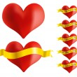 Red Heart With Golden Ribbon - Stock Vector