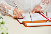 Newly-married couple signs documents — Stock Photo