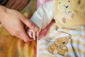 Daddy holds the child for a hand — Stock Photo