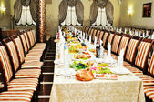 Banquet table in the restaurant — Stock Photo