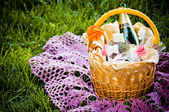 Basket with champagne — Stock Photo