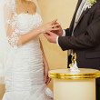 Bride dresses a ring to the groom — Stock Photo #28343857