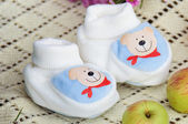 Blue baby's bootees — Foto Stock