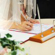 Bride signing marriage license or wedding contract — Stock Photo #36312633