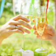 Couple toasting champagne glasses — Stock Photo