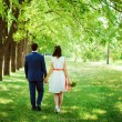 Wedding shot of bride and groom in park — Stock fotografie #36482457