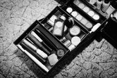 Make up bag with cosmetics and brushes isolated on white — Stock Photo
