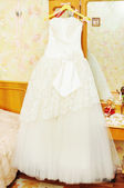 White wedding dress for the bride — Stock Photo