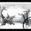 A stamp printed in China shows the ancient temple of Daimiao — Stock Photo