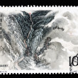 a stamp printed in china shows taishan mountains — Stock Photo