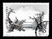 A stamp printed in China shows the ancient temple of Daimiao — Stock fotografie