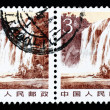 stamp printed in china shows huangguoshu waterfalls — Stock Photo