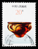 Stamp printed in China shows Chinese ancient color pottery — Stock Photo
